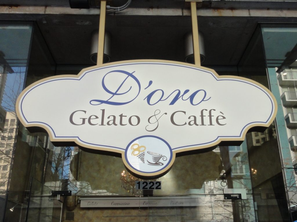 D'oro Gelato and Caffe Shaped Channel Signage