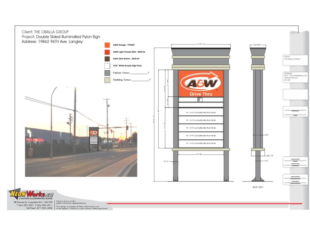 Sketch for free standing pylon sign