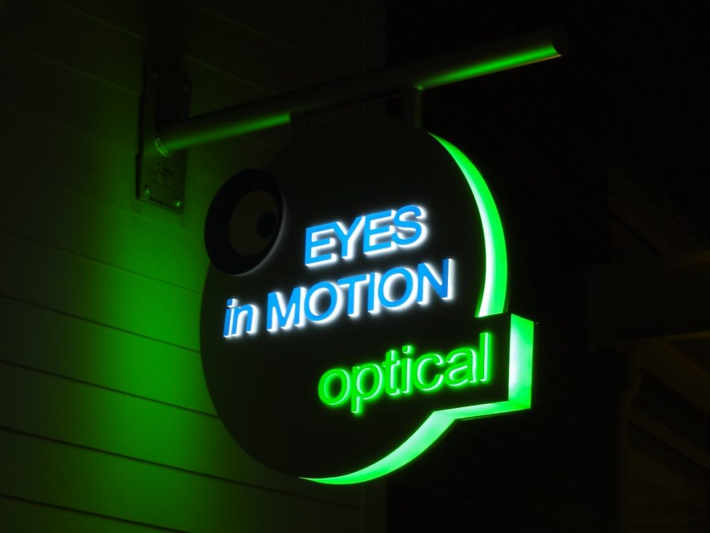 Eyes In Motion push thru illuminated signage