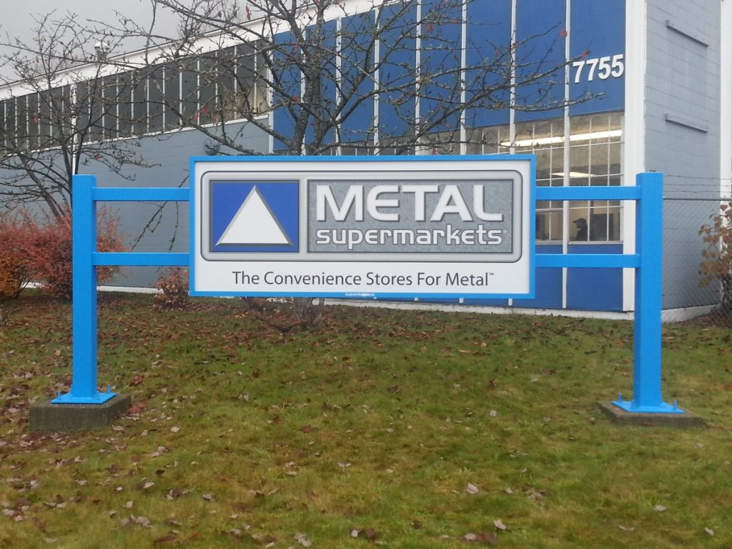 Metal Supermarkets Freestanding Pylon Sign