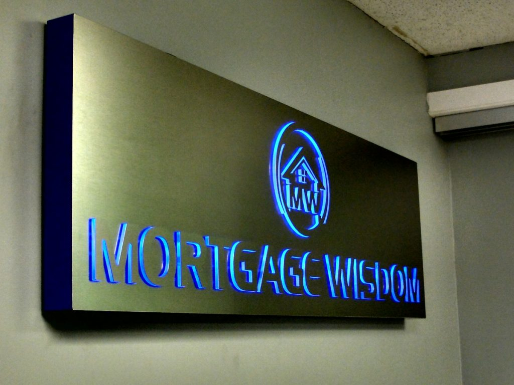 Mortgage Wisdom push thru illuminated signage