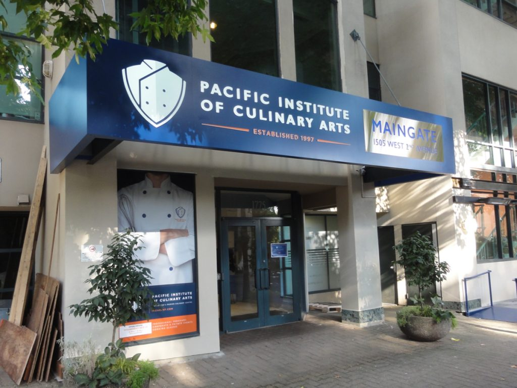 Pacific Institute of Culinary Arts push thru sign