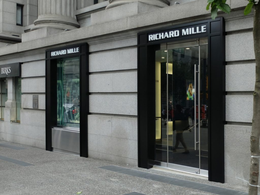 Richard Mille push thru illuminated signage