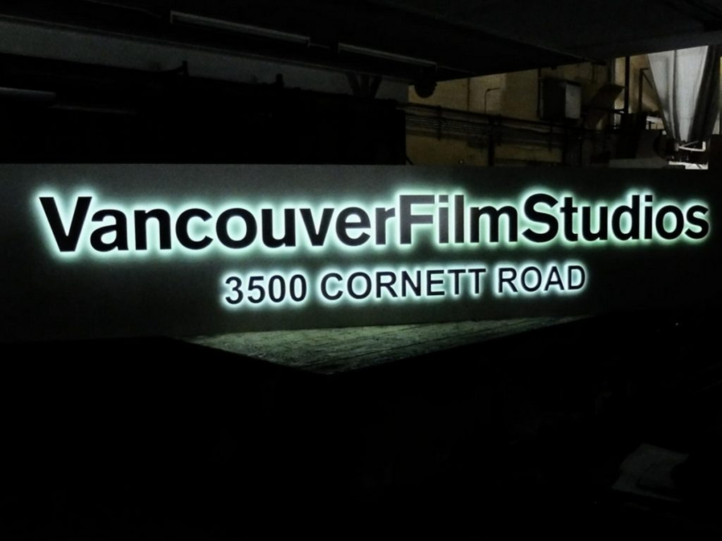 Vancouver Film Studios push thru sign