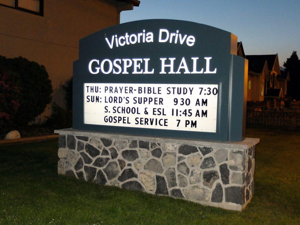 Victoria Drive Gospel Hall Freestanding Pylon Sign