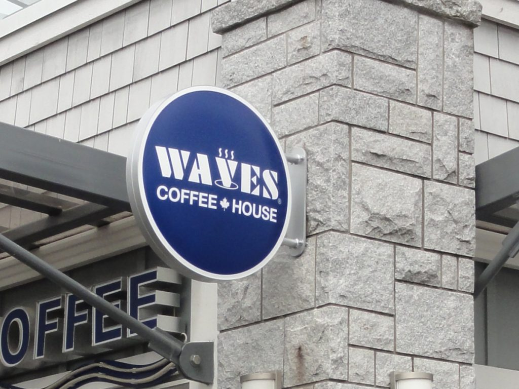 Waves coffee cabinet signage