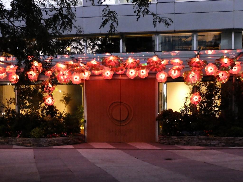Oakridge Sales Centre Flowers at night